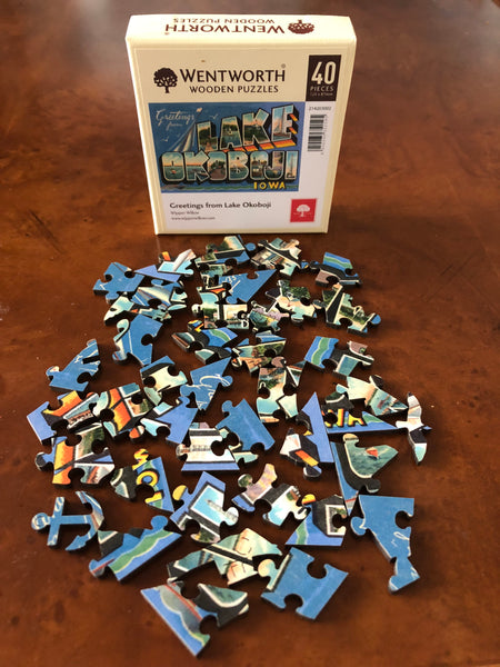 Greetings from Lake Okoboji wooden micro puzzle