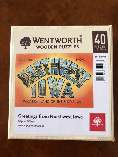 Greetings from Northwest Iowa wooden micro puzzle