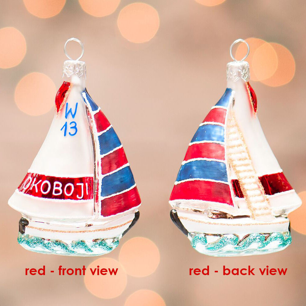 Okoboji Small Sailboat Ornament - Red
