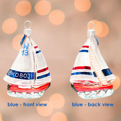 Okoboji Small Sailboat Ornament - Blue