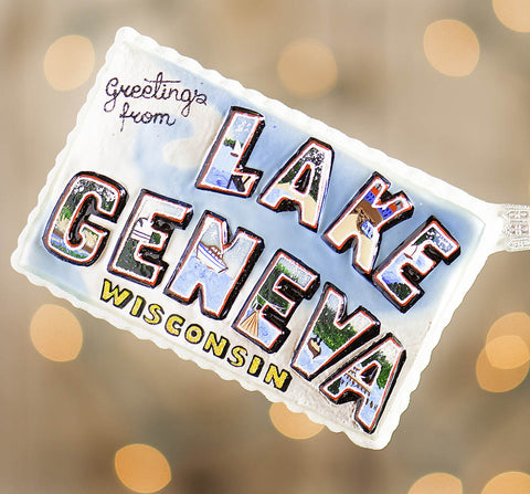 Lake Geneva Postcard Ornament