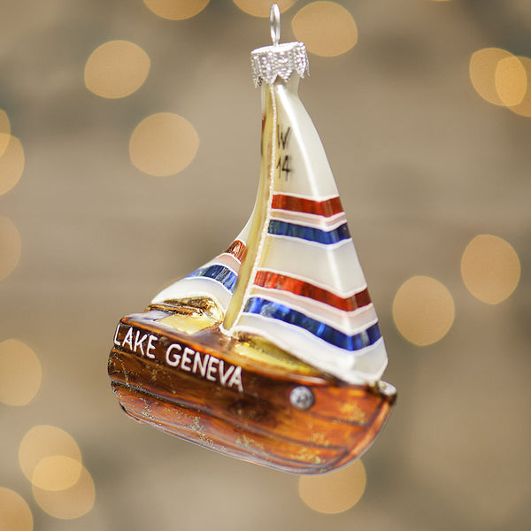 Lake Geneva Sailboat Ornament - 2015