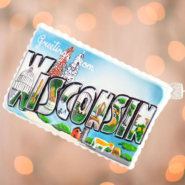 Wisconsin Postcard Ornament