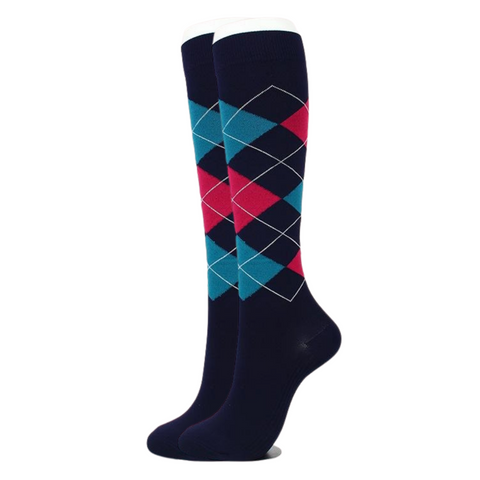 Black Argyle Compression Socks