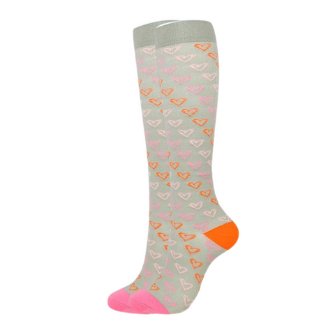Grey w/ Hearts Compression Socks