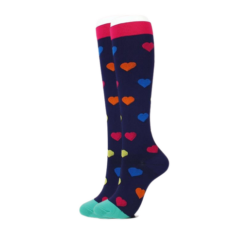 Blue w/ Hearts Compression Socks