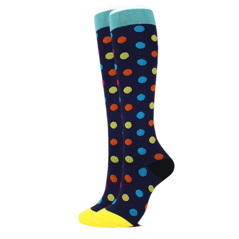 Blue w/ Polka Dots Compression Socks