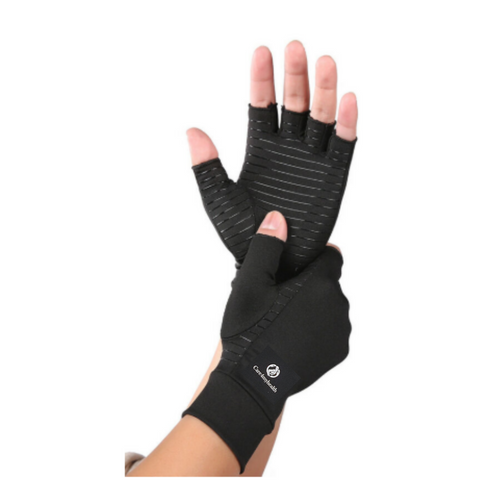 Copper Compression Half Finger Gloves