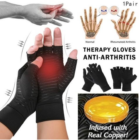 Wristband & Copper Infused Half Finger Compression Gloves Bundle