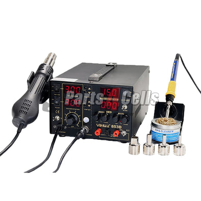 YIHUA 853D 5A 3 IN 1 Large DC Power Supply Rework Soldering Station With Hot Air Gun- 110V w/ US Extra Adapter