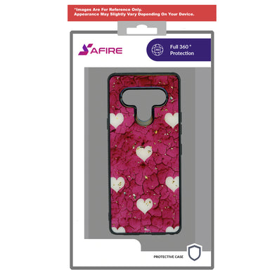 SAFIRE Samsung A21 2020 A215 Marble Case Pink Hearts
