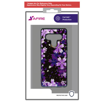 SAFIRE Samsung A21 2020 A215 Marble Case Purple Flower