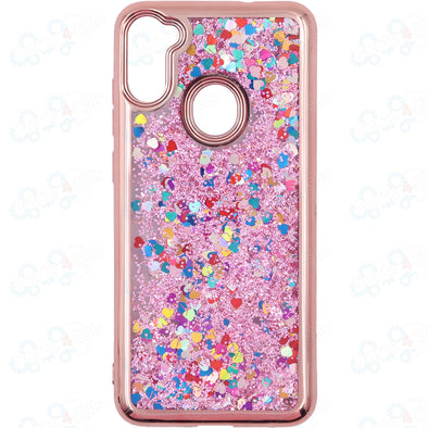 SAFIRE Samsung A11 SM-A115 2020 Electroplated Water Glitter Case Rose Gold