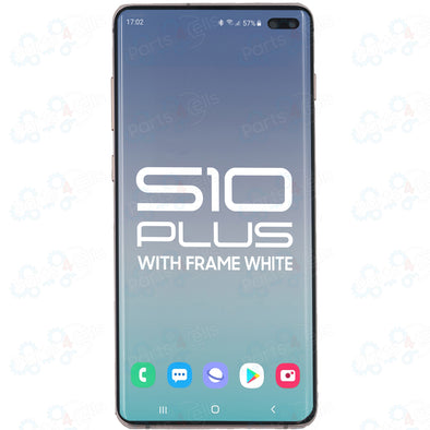 Samsung S10 Plus LCD with Touch + Frame Ceramic White  SERVICE PACK