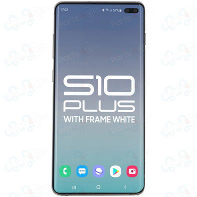 Samsung S10 Plus LCD with Touch + Frame Prism  White   SERVICE PACK