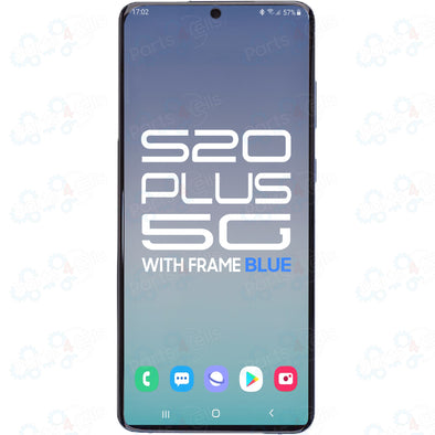 Samsung S20 Plus 5G LCD with Touch + Frame Cloud Blue SERVICE PACK