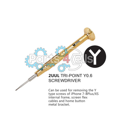 2UUL Brass Handle Heavy Weight Screwdriver for Phone Repair - Tri-Point Y0.6