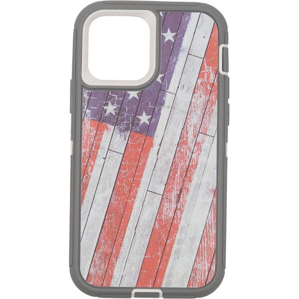 iPhone 12 / iPhone 12 Pro Camo Series Case Wooden American Flag
