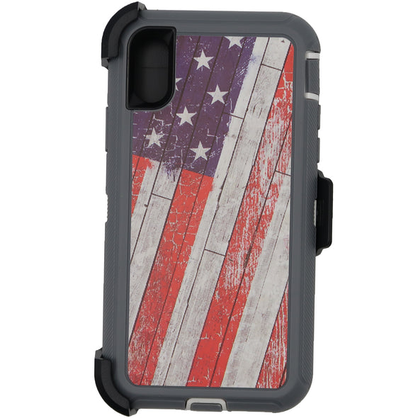 iPhone X / XS Camo Series Case Wooden American Flag