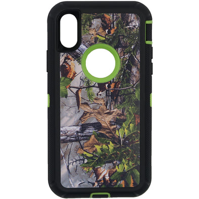 iPhone X / XS Camo Series Case with Circle Hole Green