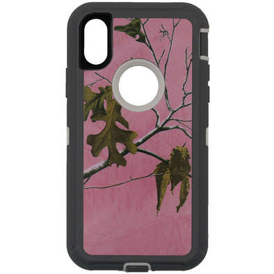 iPhone X / XS Camo Series Case with Circle Hole Pink and White
