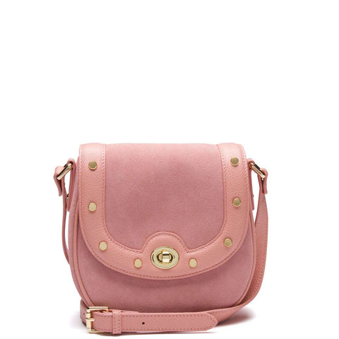 Tessa Studded Saddle Bag, Blush