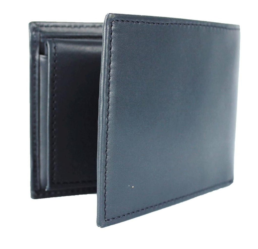 NAVY LEATHER BILLFOLD WALLET