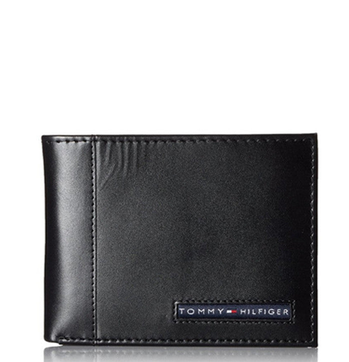 BLACK LEATHER BILLFOLD WALLET