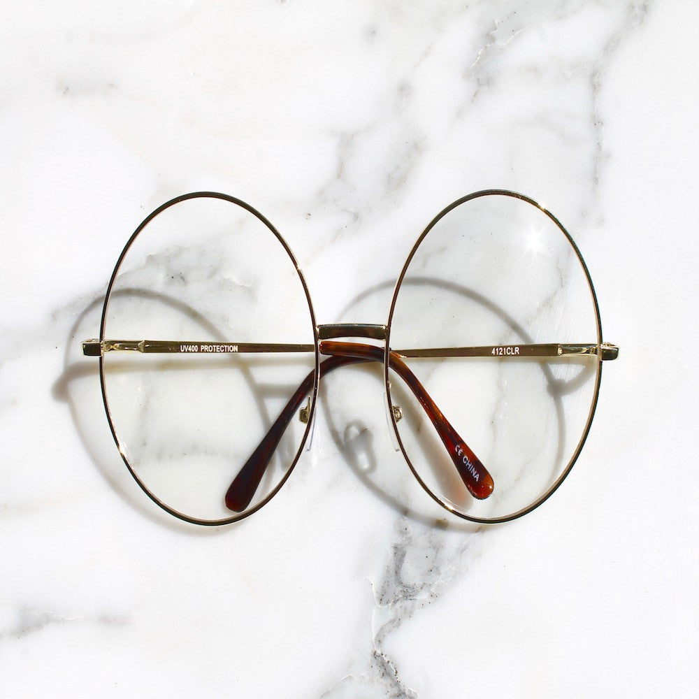 900ce0f45d Retro Large Circle Clear Lens Round Glasses – Fashion Diary L.A.