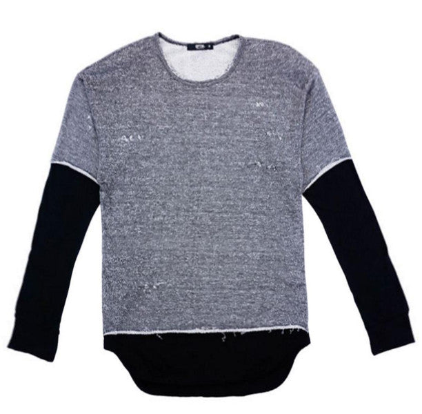LONG SLEEVE TWO-TONE FAUX TEE