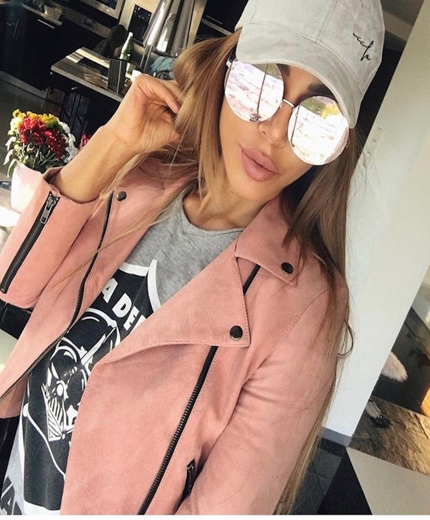 Pink Rose Gold Metal Frame Mirrored Oversized Round Sunglasses