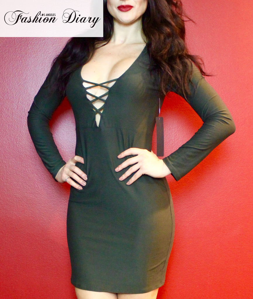 Florence Long Sleeve V-Neck Lace Up Bodycon Dress