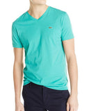 LACOSTE MEN'S DIABOLO GREEN COTTON ATHLETIC V-NECK T-SHIRT