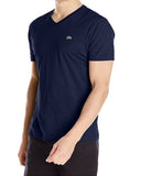 LACOSTE MEN'S NAVY COTTON ATHLETIC V-NECK T-SHIRT