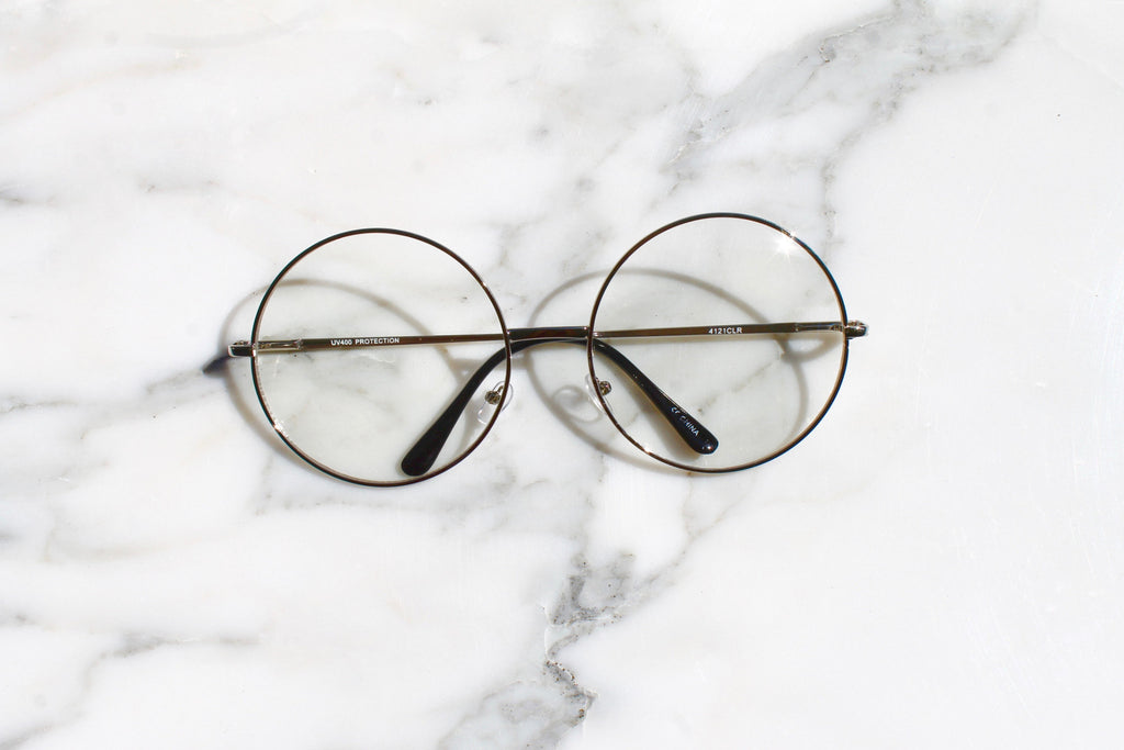 Retro Large Circle Clear Lens Round Glasses