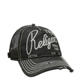 DISTRESSED BLACK LOGO TRUCKER CAP