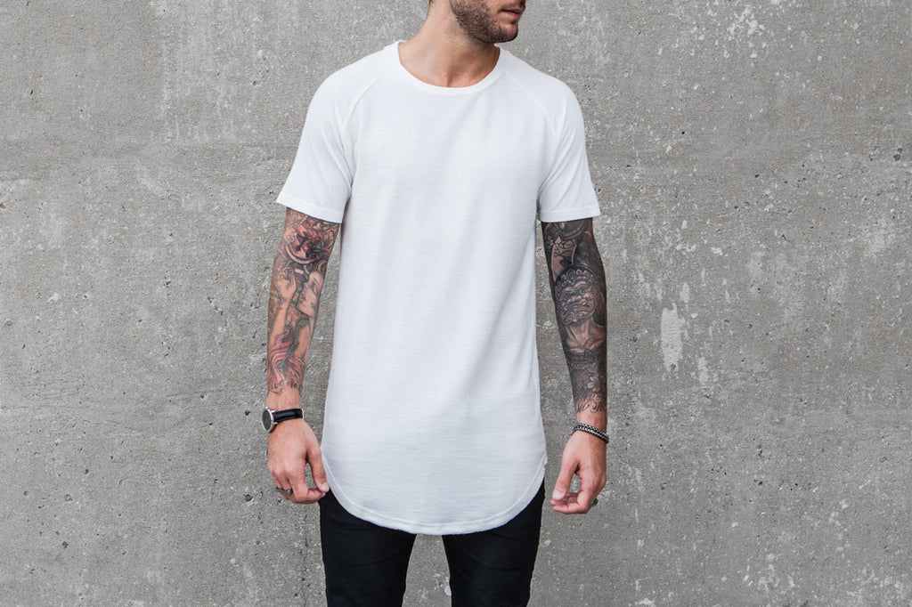 VITALY DESIGN MEN'S DOUBLE SCOOPED ELONGATED T-SHIRT