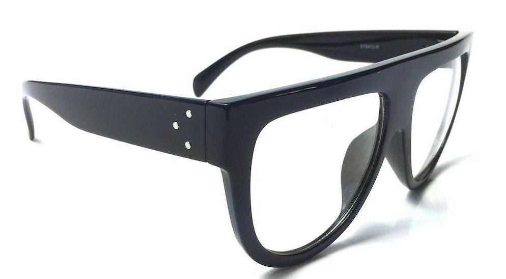 "Clear Lens ""Shadow"" Flat Top Designer Inspired Glasses"