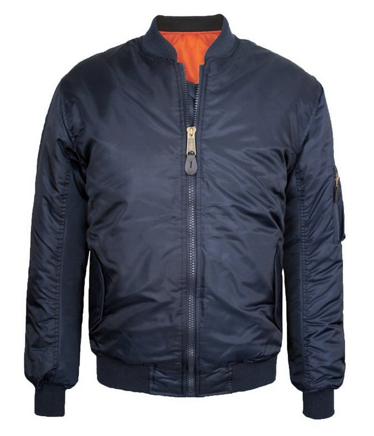 Reversible Bomber Jacket-Navy/Orange