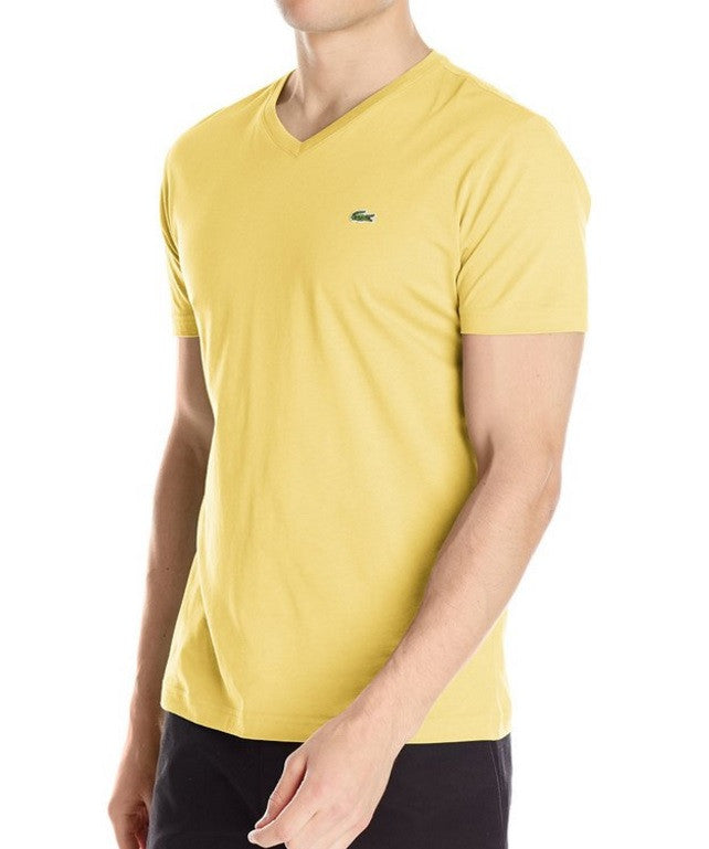 LACOSTE MEN'S GOLD COTTON ATHLETIC V-NECK T-SHIRT