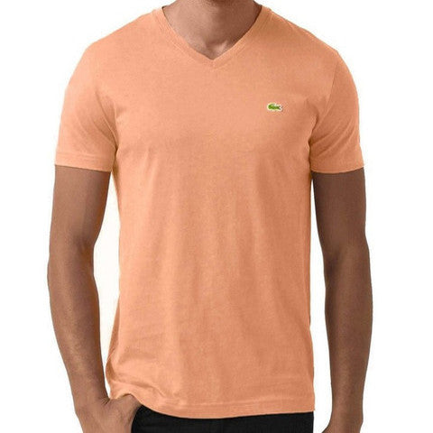 LACOSTE MEN'S PUMPKIN COTTON ATHLETIC V-NECK T-SHIRT