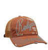 DISTRESSED ORANGE LOGO TRUCKER CAP