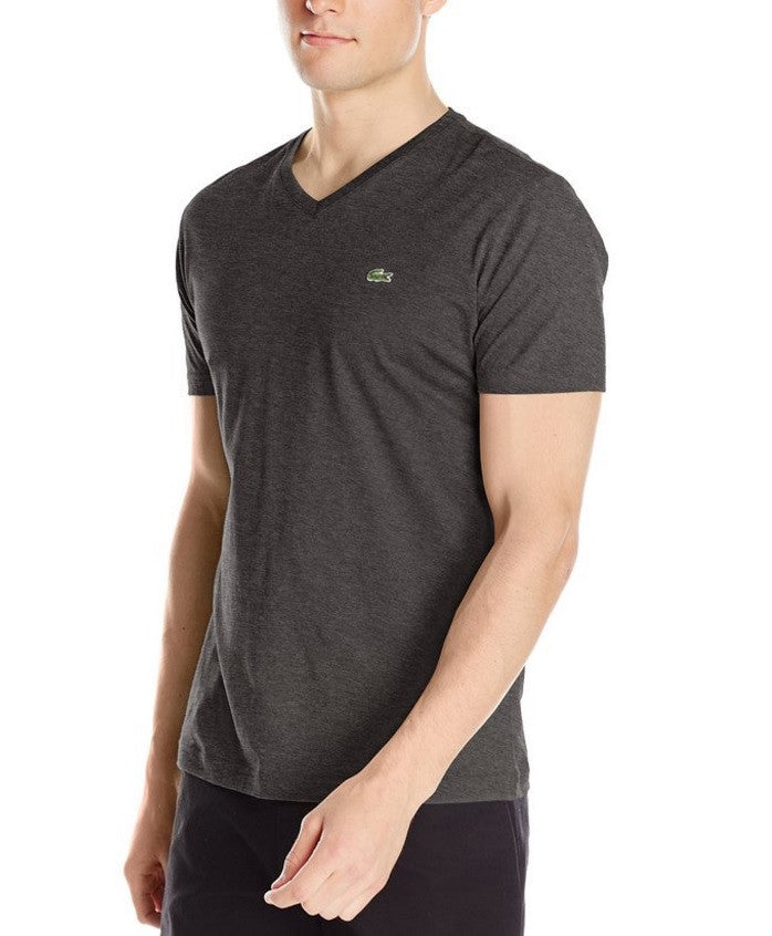 LACOSTE MEN'S PANTHER BLACK COTTON ATHLETIC V-NECK T-SHIRT