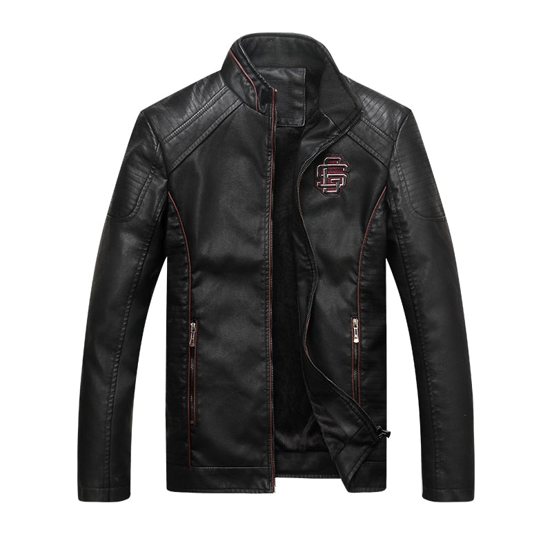New Men's Black fashion Faux Leather Biker Jacket