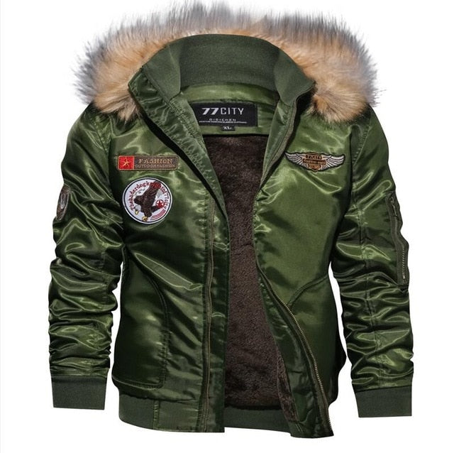 New Men's Faux Fur Military Bomber Jacket Coat