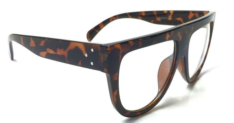 "Oversized Flat Top Clear Lens ""Shadow"" Glasses"