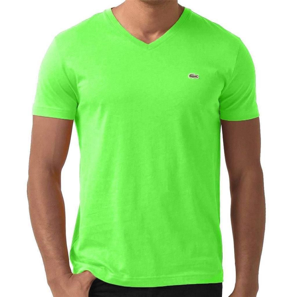 LACOSTE MEN'S VERT FLUO COTTON ATHLETIC V-NECK T-SHIRT