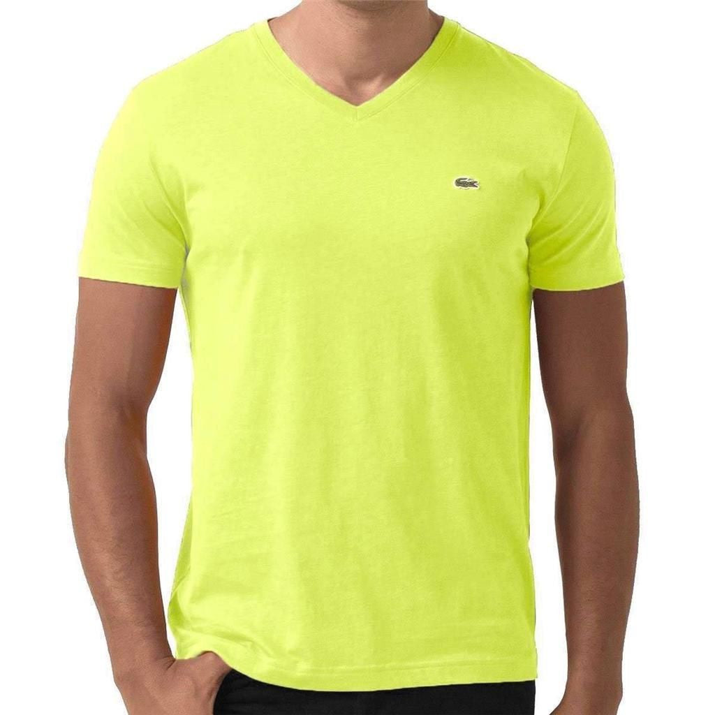 LACOSTE MEN'S ZESTE FLUO COTTON ATHLETIC V-NECK T-SHIRT