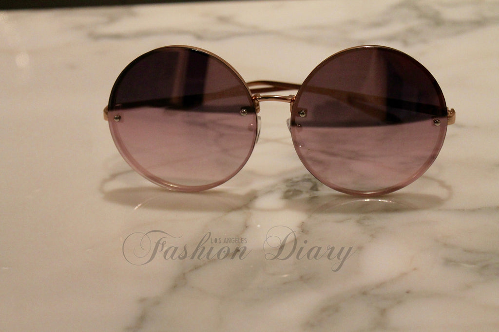 0794aba4dcb ... Pink Rose Gold Metal Frame Mirrored Oversized Round Sunglasses ...