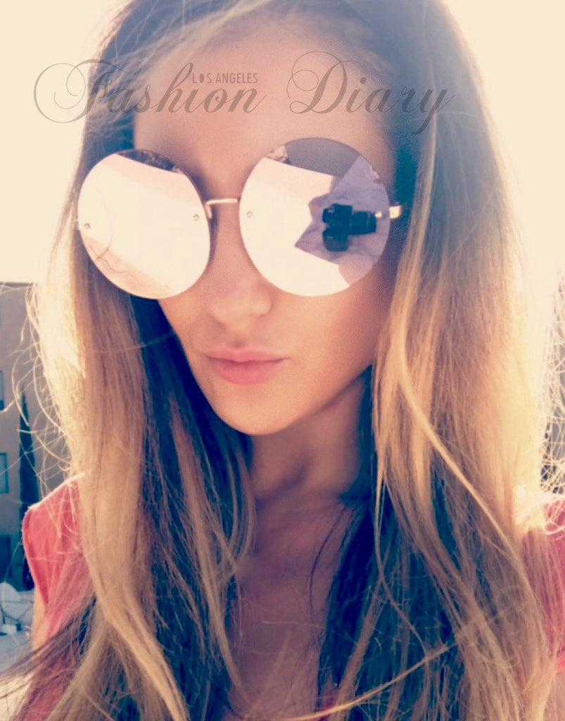 5347f413e ... Pink Rose Gold Metal Frame Mirrored Oversized Round Sunglasses ...
